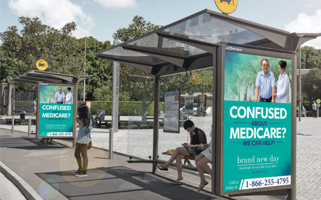 Brand New Day Healthcare out-of-home bus shelter creative