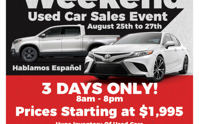 Big Deal Weekend Used Car Event Newspaper Ad for Culver City Toyota and Culver City Honda.