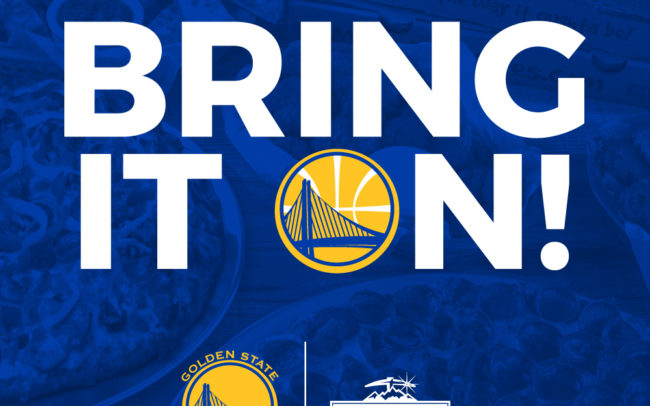 Mountain Mike's Pizza Bring It On social media creative with the sports partnership with the Golden State Warriors