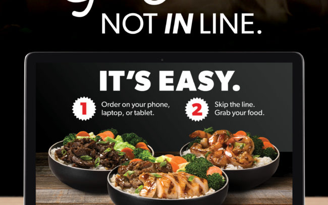 Window cling creative for new online ordering for WaBa Grill Franchisees.