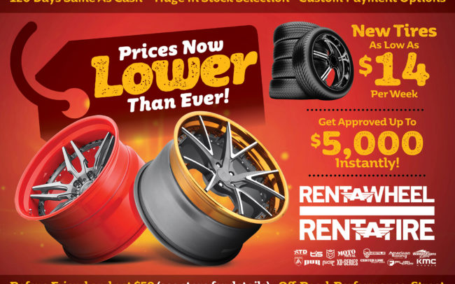 Direct mail piece creative for new lower priced wheels & tires for Rent-A-Wheel stores.