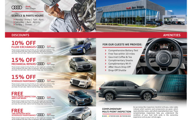 Service mailer creative for Audi of San Diego dealership.