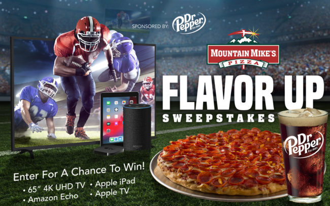 Flavor Up Sweepstakes promotional creative for Mountain Mike's Pizza during the NFL football season.